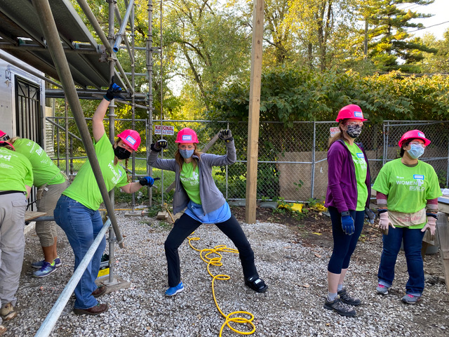 A Women Build team for Habitat with Humanity building a home in Pullman neighborhood in 2020.